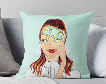Holly Golightly - fashion illustration pillow, pillow cover, pillow case, fashion cushion, cushion case, fashion pillow, decorative cushion