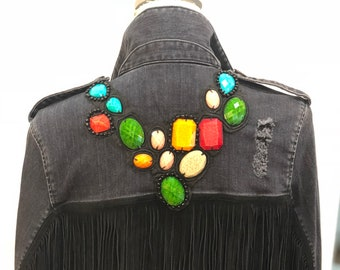 McGuire denim jacket with fringe, beading and patches