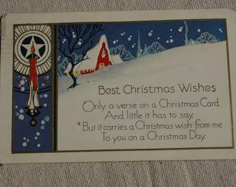 Vintage Christmas Postcard- Embossed Postcard-1930's Post Card