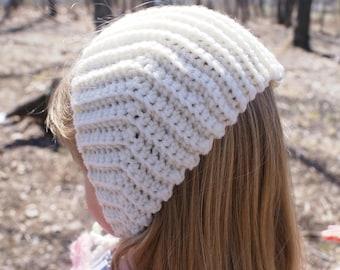 Off-White Little Girls Hat- Granny Chapie's Bonnet for Little Girls