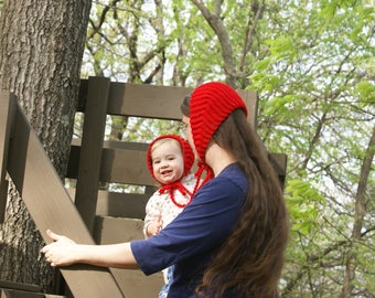 Red Mommy and Me Hats-Matching Toddler and Adult Bonnets