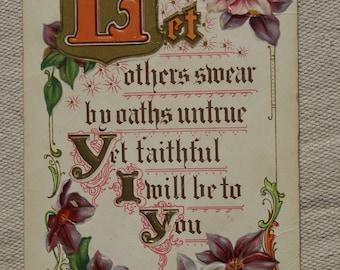 Vintage Postard- Sentimental Postcard- Embossed Floral Postcard- 1911 Postcard