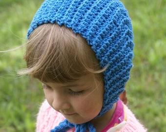 Little Girls Blue Hat- Granny Chapie's Bonnet for Little Girls
