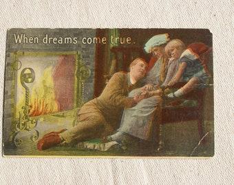 Vintage Postcard- Family Postcard- Romantic Postcard- 1918 Postmark