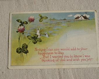Vintage Postcard- Rabbit Postcard- Bunny Postcard- 1922 Postcard