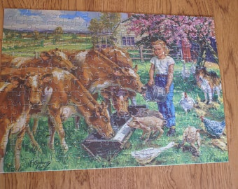 Vintage Jigsaw Puzzle - Genesee Picture Puzzle - The Little Milkmaid Puzzle