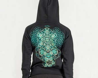 Psytrance psydesign UV Cotton Hoodie / Sacred Geometry Clothes / Festival Clothing + Streetwear / Black Light Women Hoodie / edm club house