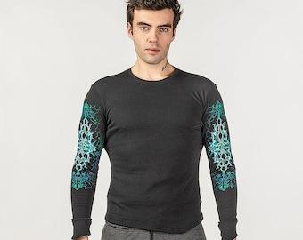 Men black psychedelic long sleeve shirt, Goa clothing, UV active Psy trance festival shirt, Rave wear, Visionary art t shirt. Psytrance wear