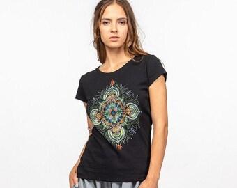 Black mandala print festival T shirt, Women dj patern UV psychedelic tee, Cotton jersey comfortable casual clubwear shirt