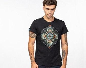 Men's Black Cotton Psychedelic Blacklight T shirt Mandala Sacred Geometry Screen Printed Tribal Shirt Fractal Art Visual Art Clothing Shirt