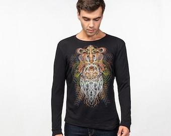 Mens Black Long sleeve Cotton Shirt Psychedelic Printed Shirt Dmt Fractal Vortex Burning Man Psy Tance Goa Clothing Uv shirt Blacklight Rave