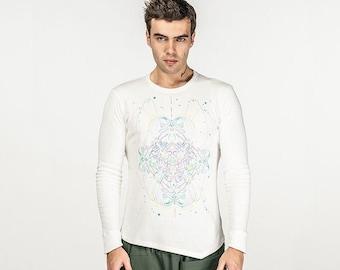 Men Long sleeve T shirt UV. Psychedelic T shirt, trippy T shirt, UV active rave T, festival T-shirt, visionary art T, Boho T shirt, PSY wear