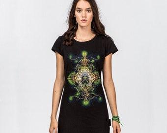 Bohemian Dress, Hippie Boho Clothing, Rave outfit, Tribal Festival Clothes, Black Little Dress, Short Sleeve Futuristic Dress, Funky Dress