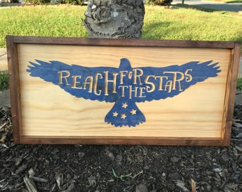 Reach for the Stars Wood Eagle Wall Sign, Wall Art