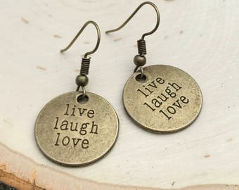 Inspirational Earrings, Live, Laugh, Love Bronze Statement Earrings, Motivational Message Jewelry