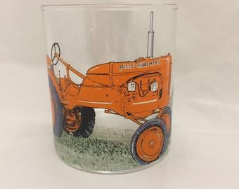 Allis Chalmers B Tractor Design on Heavey Base Tumbler Glass