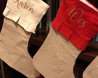 Christmas stocking, personalized christmas stocking, name stocking, stocking, red stocking, white stocking