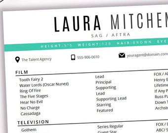 Actor Resume Template 8 X 10 Acting Instant Digital