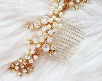 SAMPLE SALE - Gold hair comb, bridal hairpiece, crystal pearl hair accessory, wedding headpiece