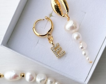 24k gold plated cz initial letter earring