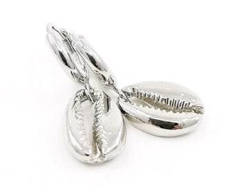 Silver cowrie earrings