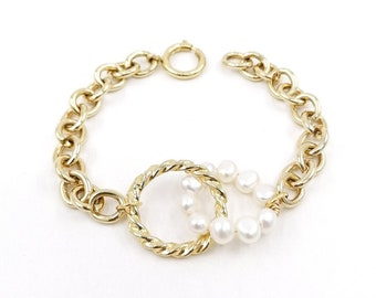 Chunky gold pearl bracelet, 24k gold plated bracelet, freshwater pearl jewelry