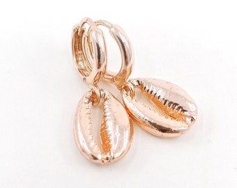 Rose gold cowrie earrings