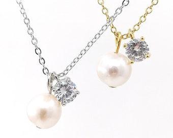 Sonata - Edison pearl and cubic zirconia necklace