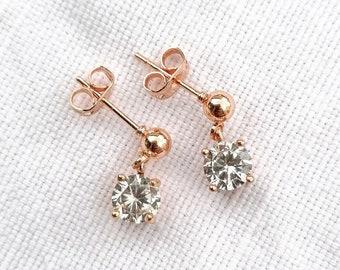 Tina - rose gold drop earrings
