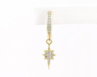 North star earring, gold cubic zirconia celestial earring, pave hoop earring, mono earring