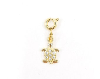 Gold pave turtle charm