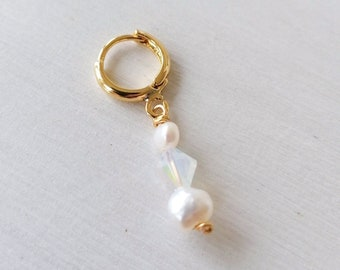 24k gold plated hoop Swarovski bead and pearls