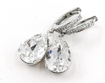Arianna - teardrop Swarovski crystal earrings