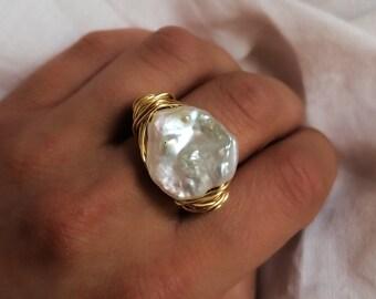 Large keshi  pearl ring