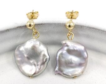 Gray pearl earrings - 18k gold filled