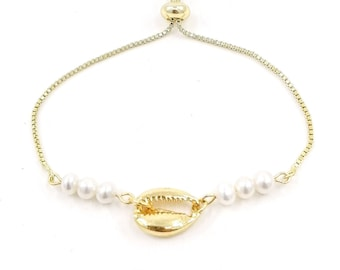 Cowrie shell pearl bracelet - 24k gold plated