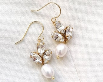 Vivienne - gold crystal pearl earrings