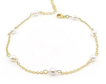 Nica - pearl chain anklet