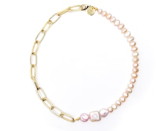 Candy bomb -  pink freshwater pearl chain necklace