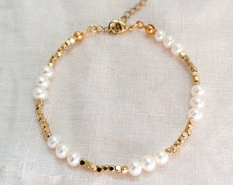 Pearl cube beaded bracelet