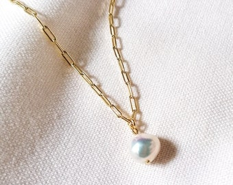 Paper clip pearl necklace - 18k gold filled