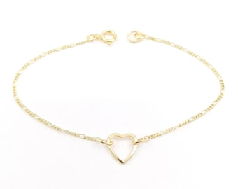 Dainty heart bracelet - 18k gold filled