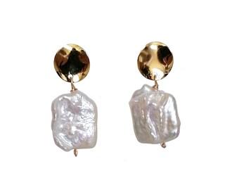 Hannah - freshwater pearl drop earrings