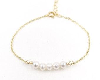Valentina - 18k gold filled pearl bracelet
