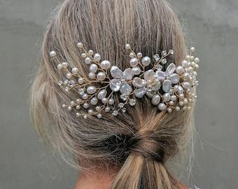 Heather - crystal pearl hair comb
