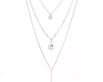 Multistrand layered necklace - silver