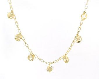 Coin charm necklace - 24k gold plated