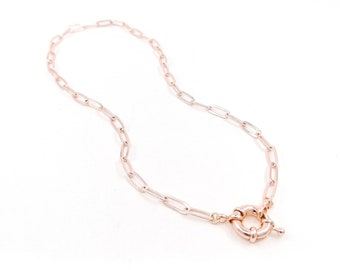 Freya - rose gold paperclip necklace