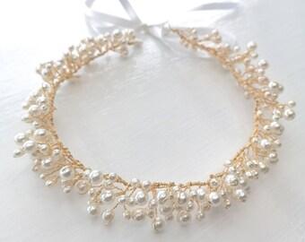 Gold pearl hair vine, pearl wreath, pearl headband, bridal hairpiece, wedding hairband, SAMPLE SALE