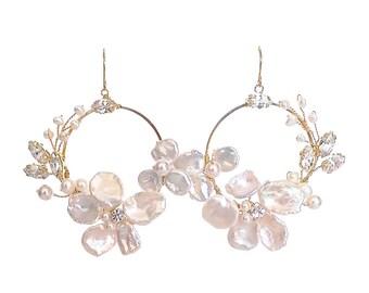 Cheryl -  blossom hoop earrings